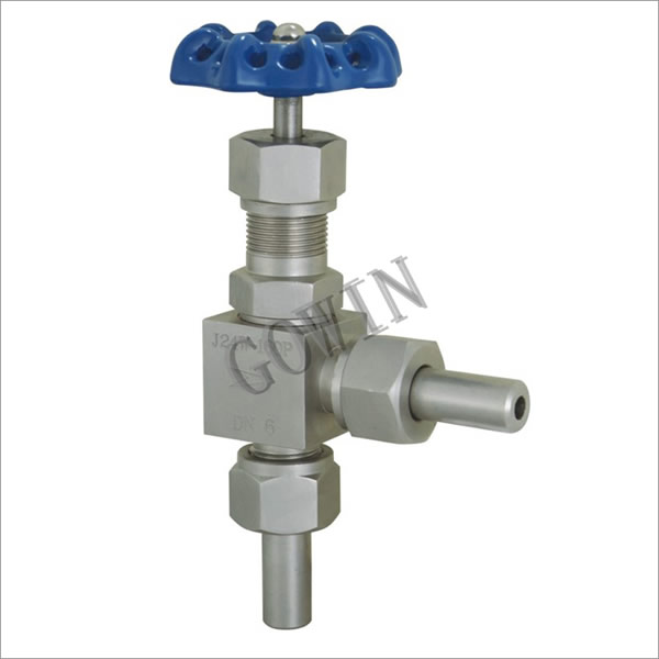 Needle valve of angle external thread