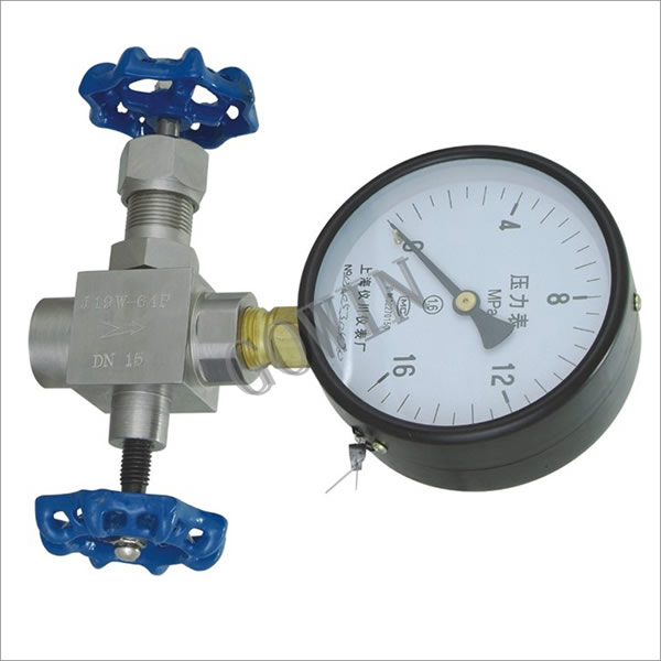 Pressure gauge three-way valve